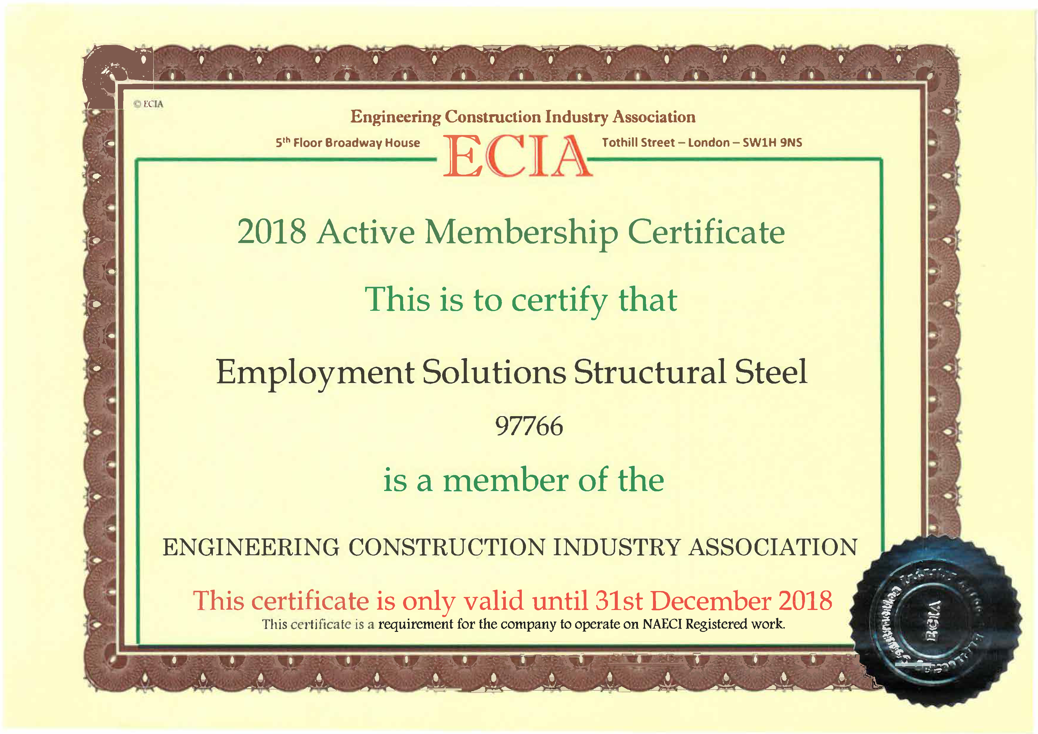 We are an ECIA Member.